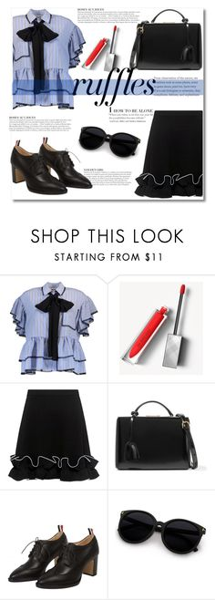 """""""What a Frill: Ruffles"""" by sevilalovsadli ❤ liked on Polyvore featuring MSGM, Burberry, Boutique Moschino, KAROLINA, Mark Cross, Thom Browne, ruffles and RuffLyfe"""