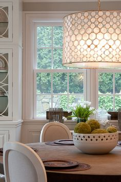 shell drum shade chandelier, dining room by Nightingale Design