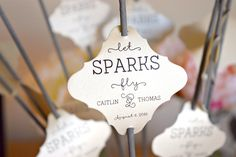 SET OF 24 let sparks fly wedding sparkler tags