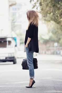 October 2014: Nicoletta Reggio is wearing boyfriend jeans from 2W2M, blazer from Lanvin and the shoes are from Sarenza