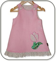 SIZE 0 Pale Pink Corduroy Applique Embroidered Pinafore - Tulip - by Karousel_Kids on madeit Pale Pink, Kids Clothing, Tulip, Appliques, Corduroy, Sewing Projects, Kids Outfits, Flower, Tank Tops