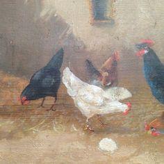 tableaux à l'huile sur panneau bois ,sujet , scène de base cour poules,coq picorant .signé , Argentèry datée 1925 . XX siècle .