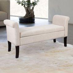 $199.99  Amazon.com: Adeco Eruo Style Fabric Arm Bench Ottoman Chair Footstool, Wood Legs, lid storage: Furniture & Decor