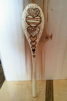 Wooden Spoon with Pyrography Heart Design by ScratchedAndBurnt on Etsy https://www.etsy.com/listing/471939827/wooden-spoon-with-pyrography-heart