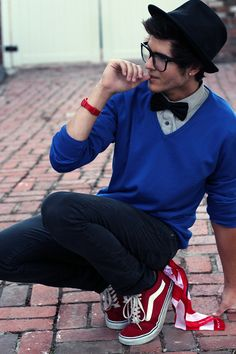 Hipster glasses, bow-tie, Vans :) minus the piercing! >.< ruins the nerdy look... •___•