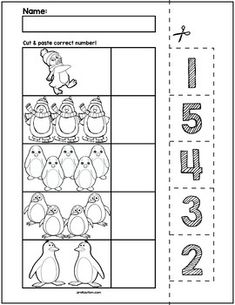 $1 | Teach counting skills with penguin characters! Great for teaching 1:1 counting skills and number recognition for numbers 1-5. No prep and great for math centers! #preschool #preschoolers #preschoolactivities #kindergarten #Homeschooling #mathcenters #school #penguin #christmas Kindergarten Worksheets, Math Activities, Preschool Activities, Education Humor, Number Recognition, Math For Kids, Elementary Math, Math Centers, Teacher Resources