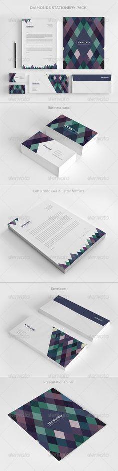 Diamonds Stationery Pack by Abra Design, via Behance Corporate Design, Brand Identity Design, Graphic Design Branding, Packaging Design, Resume Design, Corporate Identity, Identity Branding, Visual Identity, Cool Business Cards