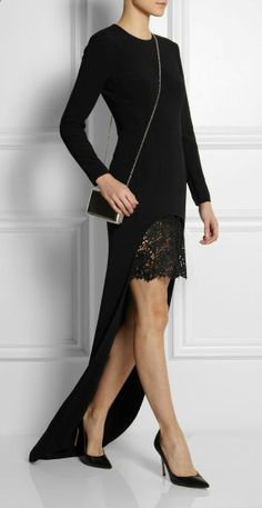 Stella McCartney | Millie lace-trimmed stretch-crepe gown, love this!!!!!