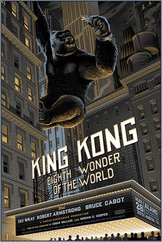 Merian C Cooper & Ernest B Schoedsack's 'King Kong' as seen by Belgian illustrator Laurent Durieux. Horror Movie Posters, Cinema Posters, Movie Poster Art, Movie Poster Frames, Poster Wall, Poster Series, King Kong 1933, Classic Horror Movies, Classic Movies