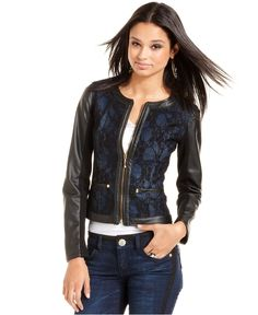 XOXO Juniors Jacket, Faux-Leather-Sleeve Colorblock Motorcycle ...