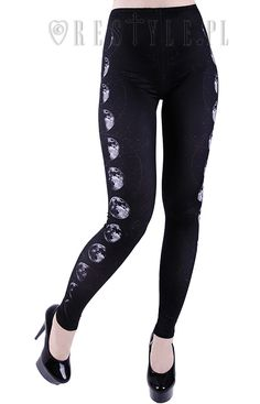 MOON PHASES Leggings Map of the stars, black witchy trousers