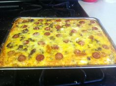 """Brakfast pizza with crescent dough for crust. Made this this morning. So yummy! (I used lil smokies to make the """"pepperoni"""") -cb"""