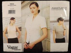 VOGUE 1822 Blouse Lined Variations Easy Sewing Pattern Uncut Sz 12-16 Anne Klein #Vogue1822 #linedblouse