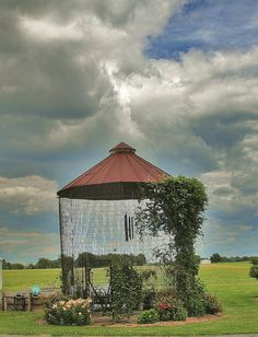 Dandelion Haven: Corn Crib Gazebo. Repurposed corn crib into a garden gazebo.