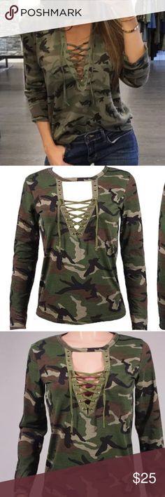 Camo Choker Top Camo Choker Top. 3/4 sleeves. Cotton. Runs small. BNWT. Tops Tees - Long Sleeve