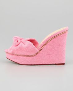 94.05$  Watch here - http://ali5nf.worldwells.pw/go.php?t=32344837016 - 2015 Plus Size Women Slides Wedges High Heels Decorated With Bowtie Peep Toe Pink Horsehair Summer Casual Ladies Shoes Sandals 94.05$