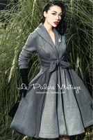 2015 Le Palais do Vintage elegante Retro cinza costura cintura grande pêndulo All jogo longo brasão de alta qualidade roupas femininas