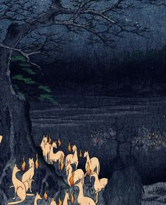 New Year's Eve Fox Fires at the Changing Tree, Oji  -    Utagawa (Ando) Hiroshige , 1857.    Japanese,  1797 - 1858    Woodblock