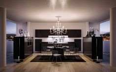 sophisticated + unique kitchen design | modern black #kitchen w/chandelier