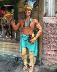The Cigar Store Indian outside the Mercantile... #cigarstoreindian #mercantile #knottsberryfarm #knottsberryplace #knotts #berryfarm #cedarfaire #buenapark #SoCal #seanmeltonmedia