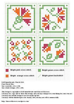 Four Floral Tiles Biscornu Cross Stitch, Cross Stitch Heart, Cross Stitch Flowers, Cross Stitch Embroidery, Cross Stitch Designs, Cross Stitch Patterns, Inchies, Blackwork Patterns, Rico Design