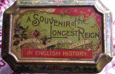 Antique Queen Victoria British Royalty Longest Reign Commemorative Tin 1897