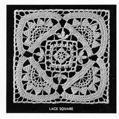 Flower Block Filet Crochet Bedspread Pattern, Vintage Cluny Filet No 4194
