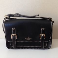 Kate Spade Black Leather Crossbody Satchel Authentic Kate Spade in like new condition.  I had to have this but just don't carry it enough to keep it and it's too pretty to sit on a shelf. kate spade Bags Crossbody Bags