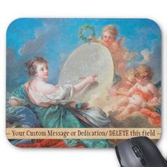 Allegory of painting Boucher Francois rococo lady Mousepad #allegory #painting #boucher #Paris #France #art #woman #girl #cherubs #angels #rococo #accessory #gifts #classic #customizable #home #decoration