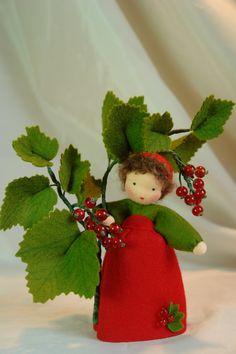 Red Currant Flower Child Waldorf Inspired door KatjasFlowerfairys