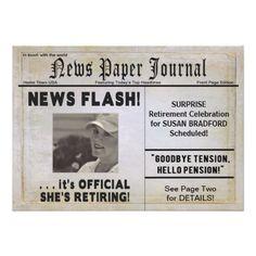 SHE'S RETIRING PARTY INVITATION (NEWSPAPER)
