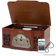 Amazon.com: Electrohome Winston Vinyl Record Player 3-in-1 Classic Turntable Natural Wood Stereo System, AM/FM Radio, CD, and AUX Input for Smartphones, Tablets, and MP3 players (EANOS501): Home Audio & Theater