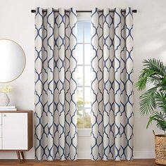 Buy jinchan Linen Textured Curtains Moroccan Tile Printed Curtains Panels Room Darkening Bedroom Living Room Thermal Insulated Window Treatment Drapes 2 Panels L Blue Printed Curtains, Blue Curtains, Room Darkening Curtains, Linen Curtains, Printed Linen, Curtain Texture, Curtain Panels, Home Cooler, Insulated Curtains
