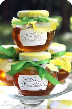 "Vienna gave each of guest's mommies a little jar of honey labeled, ""Thank you for bee-ing here Picnic Bridal Showers, Bridal Shower Party, Baby Showers, Country Fair Party, Unique Wedding Favors, Wedding Ideas, Wedding Stuff, Budget Wedding, Mommy To Bee"