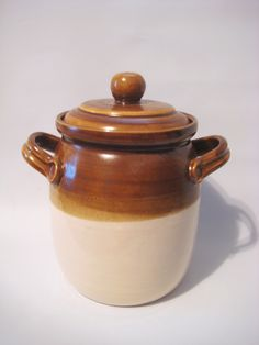 Stoneware Crock | Crock Cookie Jar Stoneware Handmade Pottery Lidded Handled Pot Glazed ...