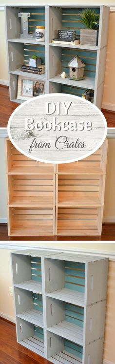 .  Check out how to build a very easy DIY bookshelf from wooden crates @istandarddesign