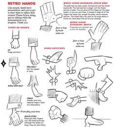 Dibujar manos estilo retro