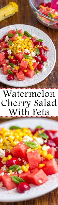 This summer watermelon cherry salad with Feta is great for picnics ...