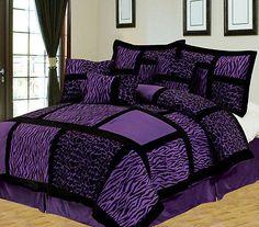 7 Piece Safari Purple and Black Patchwork Micro Suede Comforter Set