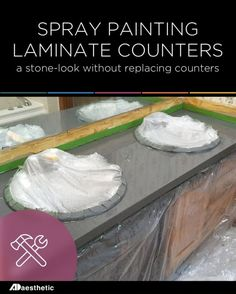 Spray Painting Laminate Counters for a Stone Look • AD Aesthetic