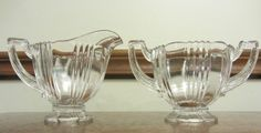 "Fostoria Glass 1935-1944 Crystal ""Sun Ray"" Pattern Sugar and Creamer Set #Fostoriaglass #Sugarandcreamer"