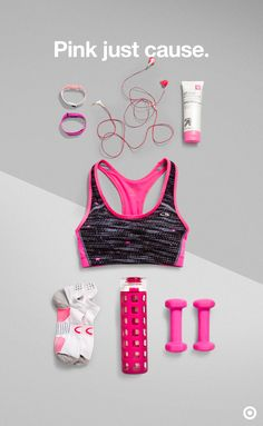 Workout with a mission in mind by pairing up as much pink as possible for breast cancer awareness. What's better for that than the ideal sports bra? Other fun add-ons could be pink Yurbuds, a Fitbit, a set of C9 Champion hand weights, water bottle and more.