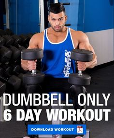 Dumbbell Only Workout: 6 Day Dumbbell Workout Split This 6 day dumbbell only workout program only requires dumbbells and is perfect for those looking to build lean muscle mass at home or on the go! Workout Plan For Men, Weekly Workout Plans, Gym Workout Tips, Workout Programs For Men, Hotel Workout, Workout Outfits, Full Body Dumbbell Workout, Full Body Workout Routine, Dumbbell Workout Program