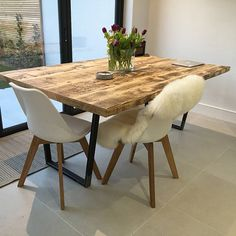 Package: Vintage Industrial Style Reclaimed Dining Table with Matching Bench Industrial Style Dining Table, Reclaimed Dining Table, Timber Dining Table, Dining Room Table, Vintage Industrial, Table And Chairs, Dining Chairs, Tables, Handmade Furniture