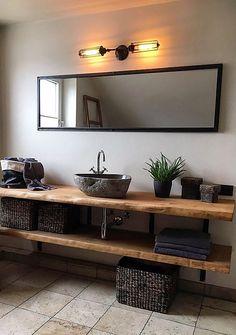 Wood vanity tops made to measure Holzwerk Hamburg – diy bathroom ideas Decorative Bathroom Mirrors, Bathroom Vanity Decor, Guest Bathroom Remodel, Rustic Bathroom Vanities, Rustic Bathrooms, Bathroom Ideas, Bathroom Storage, Small Bathroom, Wall Storage