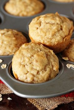 "Oatmeal Muffins are simple no-fuss no ""stuff"" loaded into them - and delicious. They're just perfect for breakfast brunch or that afternoon snack. Applesauce Muffins, Pumpkin Chocolate Chip Muffins, Chocolate Chip Banana Bread, Pumpkin Oatmeal Muffins, Cranberry Muffins, Muffins Blueberry, Make Banana Bread, Baked Banana, Banana Bread Recipes"