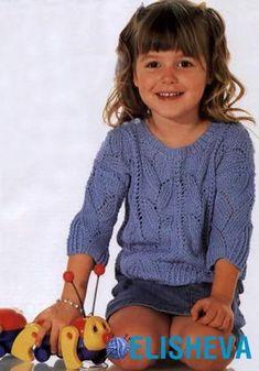 Ажурный пуловер для девочки вязаный спицами - 92-98, (104-110), 116-122