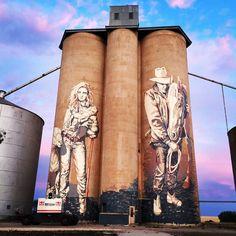 Silos in Rosebery, Victoria. - Kaff-eine is adding the final touches this week… congratulations to the entire Silo Art Trail team siloart mural nearlythere Urbane Kunst, Farm Art, 3d Drawings, Roadside Attractions, Australian Art, Hobby Farms, Urban Farming, Australia Travel, Western Australia