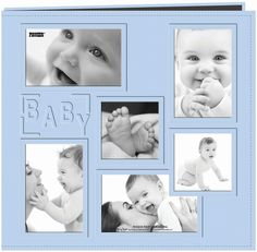 Pioneer Collage Frame 12-Inch x 12-Inch Sewn Embossed Cover Baby Postbound Album, Blue
