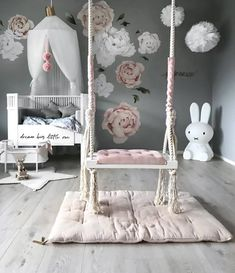 How pretty is this little girl's room by Stine S.moi 👈🏻 Shop Miffy lamp via the link in our bio 💕 . Baby Bedroom, Baby Room Decor, Nursery Room, Girl Nursery, Girls Bedroom, Nursery Decor, Bedroom Decor, Bedrooms, Babies Nursery